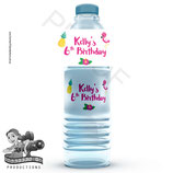 Flamingo Water Bottle Label; Digital PDF File