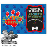 Blue, Red, Yellow Paw Print Thank You Cards