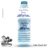 Water Bottle Label; Blue Floral