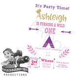 Wild One; Purple & Pink: Invites