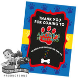 Blue, Red, Yellow Paw Print; Party Bag Labels