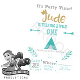 Wild One; Teal & White: Invites