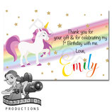 Rainbow Unicorn Cartoon Thank You Cards