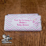 Pink Stork Baby Shower; Choc Wrapper