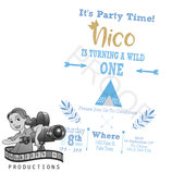 Wild One; Blue & White: Invites