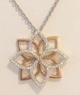 Chaine et pendentif diamants sur or gris et rose 750/1000