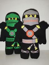 Namenskissen Ninja Ninjago grau, bestickt mit Namen