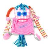 Personalisiertes Schnüffel- Tuch Ich bin Ich, personalisierbar mit Namen. ca 25 cm, aus hochwertigen Plüsch und Baumwolle- Stoff in Öko Qualität. In rosa-grau.