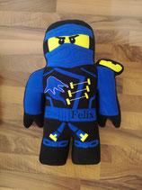 Namenskissen Ninja Ninjago blau, bestickt mit dem Text deiner Wahl