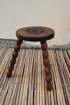 Turned wooden stool
