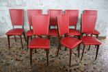 Ensemble de 8 chaises en skaï rouge