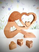 Mama aus Holz - mit Herz oder Stern - Handarbeit