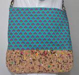 Umhängetasche Kork, Damenhandtasche, Tasche mit buntem Kork, Einstecktaschen, verstellbarer Tragergurt