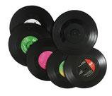 Glasuntersetzer im Schallplattendesign