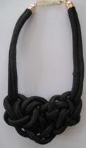 Schwarze Kordelkette mit großem Knoten