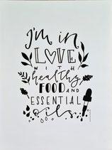 """4-teiliges Set Poster und Postkarten """"healthy food, essential oils"""""""