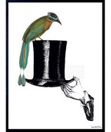 Vanilla Fly Cornice Hat With Bird