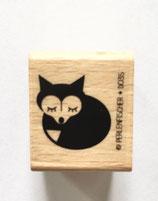 Holzstempel schlafender Fuchs