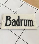 Schild Badrum