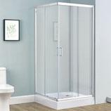 Duschkabine Echtglas mit Schiebetüren 80 x 100 cm