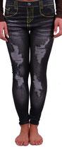 Leggings Jeggings Jeans Hose  in destroyed Optik in schwarz-gelb Größe 32-34