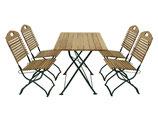 Klappbare Garnitur Sitzgruppe 5-teilig Holz Robinie Gestell in dunkelgrün