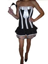 Süßes Zimmermädchen im verführerischen Bandeau-Minikleid Größe 34