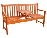 Gartenbank 3 - Sitzer mit Mitteltisch Holz 153 cm