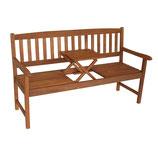 Gartenbank 3-Sitzer Eukalyptus Holz mit Mitteltisch 150cm Modell 2