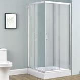 Duschkabine Echtglas mit Schiebetüren 80 x 80 cm