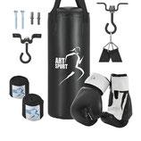 Boxsack 10 kg inklusive Boxhandschuhe Bandagen und Deckenhalterung