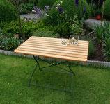 Klapptisch Holz Robinie Gestell dunkelgrün pulverbeschichtet
