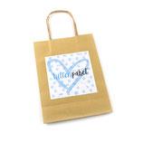 Kittenpaket Papiertüte Hellblau/Weiß