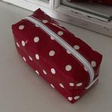 Federmäppchen  rot mit weissen Punkten
