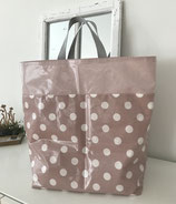 Einkaufstasche altrosa mit Punkten
