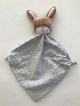 Schmusetuch Hase blau-grau