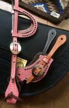 PINK CROCO STYLE SET (HOOFDSTEL + SPORENRIEMEN)