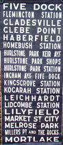 Genuine Sydney Bus destination roll from the 1960s (item 6001)
