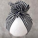 Turban schwarz/weiß gerippt