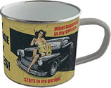 My Garage My Rules Pin Up Emaille Becher