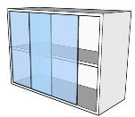 Meubles suspendus à 2 portes vitrées coulissantes