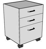 Meubles à 2 tiroirs standards et 1 grand tiroir