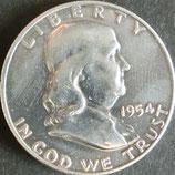 ベンジャミン・フランクリン1/2ドル銀貨 西暦1954年