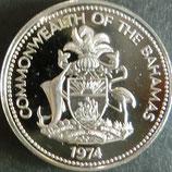 バハマ諸島プルーフ銀貨 西暦1974年