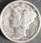 マーキュリー10セント銀貨   西暦1942年