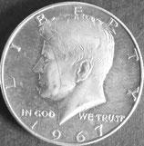 ケネディ1/2銀貨 西暦1967年