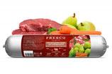 Die BARF Wurst Complete Menü 400g   Menü Rind mit Karotten, Birnen und Grünlippmuschel