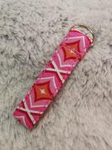 Schlüsselanhänger Rautenmuster pink/orange