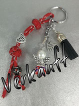 Schlüsselanhänger aus Paracord rot glitzer