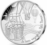 10 euros argent Petit prince en montgolfière